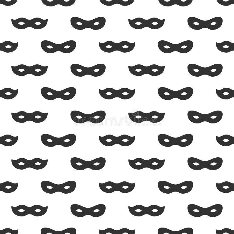 与面具的无缝的样式 黑白狂欢节简单设计 超级英雄面具 传统威尼斯式欢乐 皇族释放例证