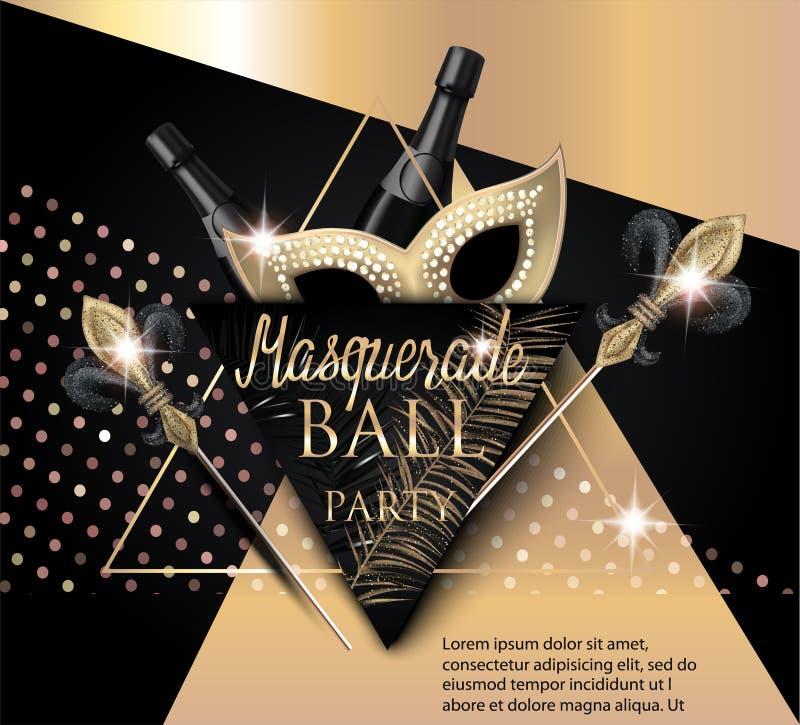 与面具的美丽的化妆舞会横幅,瓶香槟和三角 黑色金子 向量例证