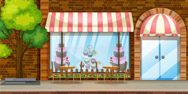 与面包店商店的街道场面 库存例证