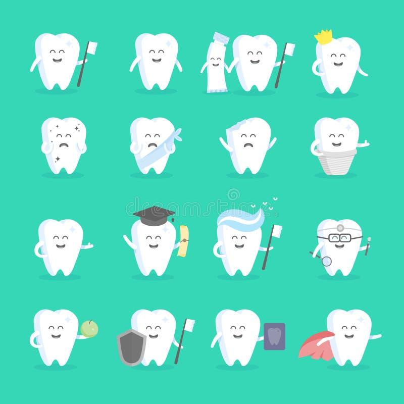 与面孔、眼睛和手的逗人喜爱的动画片牙字符集 诊所,牙医,海报,标志的要人的概念, 库存例证