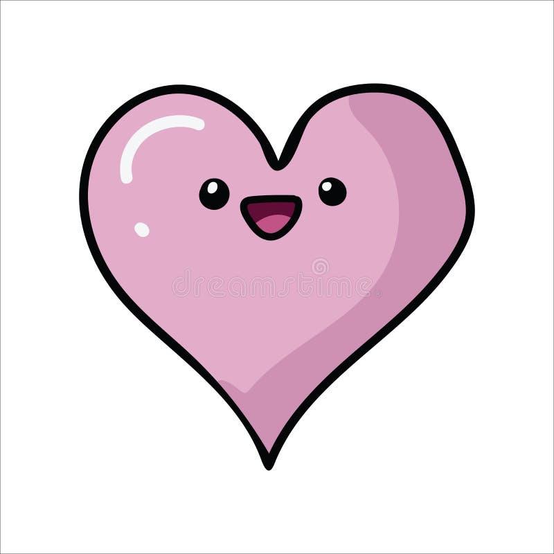 与面孔动画片传染媒介例证主题集合的Kawaii心脏 手拉的被隔绝的浪漫夫妇标志元素clipart为 向量例证
