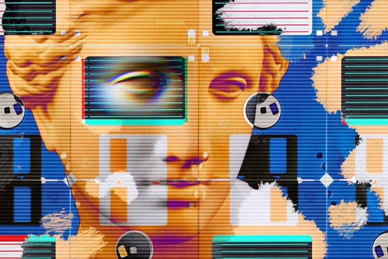 与面孔古老雕象和磁盘的现代概念性艺术海报 当代艺术拼贴画  向量例证