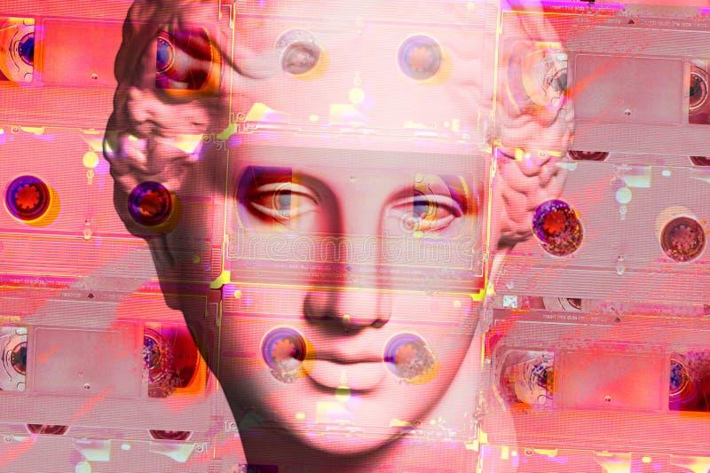 与面孔古老雕象和vhs cassete的现代概念性艺术海报 当代艺术拼贴画  向量例证