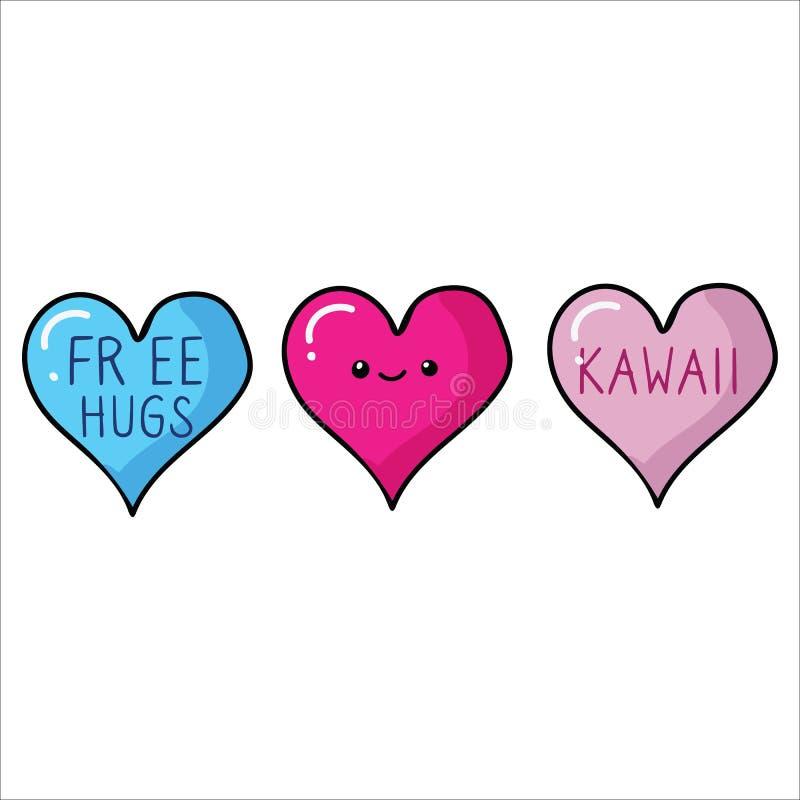 与面孔和自由拥抱动画片传染媒介例证主题集合的Kawaii心脏 手拉的被隔绝的浪漫夫妇标志 库存例证