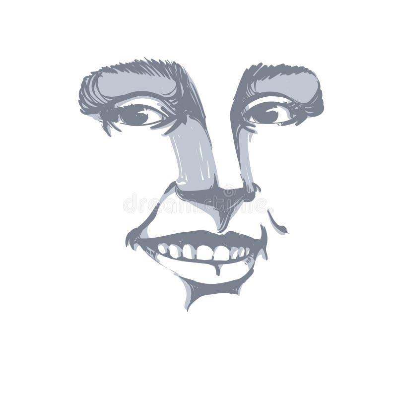 与面孔特点和情感expr的单色手拉的面具 向量例证