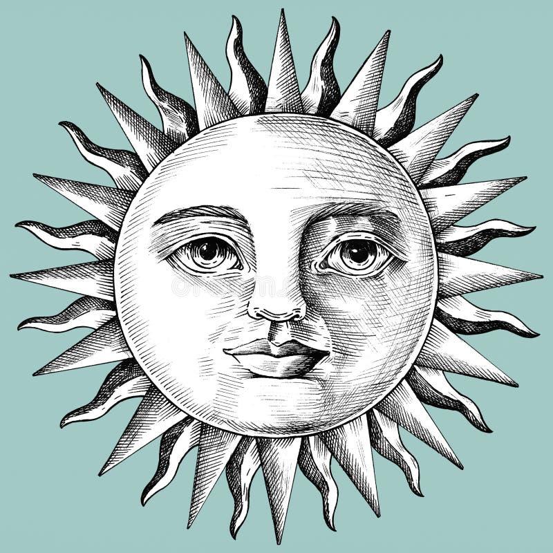 与面孔的手拉的太阳 向量例证