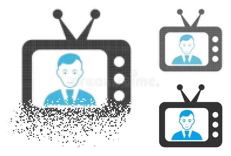 与面孔的破碎的Pixelated中间影调电视Dictor象 向量例证