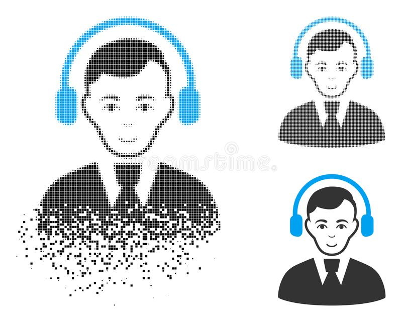 与面孔的被分解的被加点的半音报务员象 库存例证
