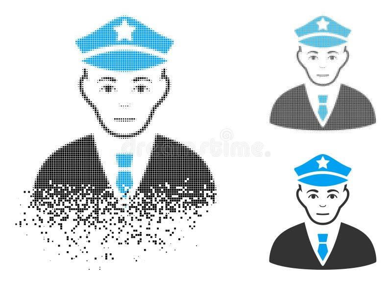 与面孔的被分解的被加点的半音警察象 向量例证