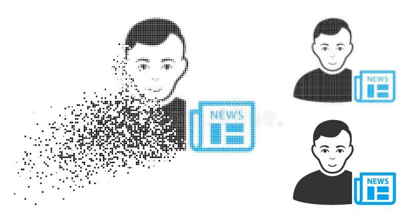 与面孔的被分解的Pixelated半音用户新闻象 库存例证