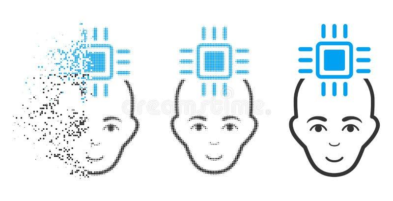 与面孔的被驱散的被加点的半音神经系统的计算机接口象 皇族释放例证