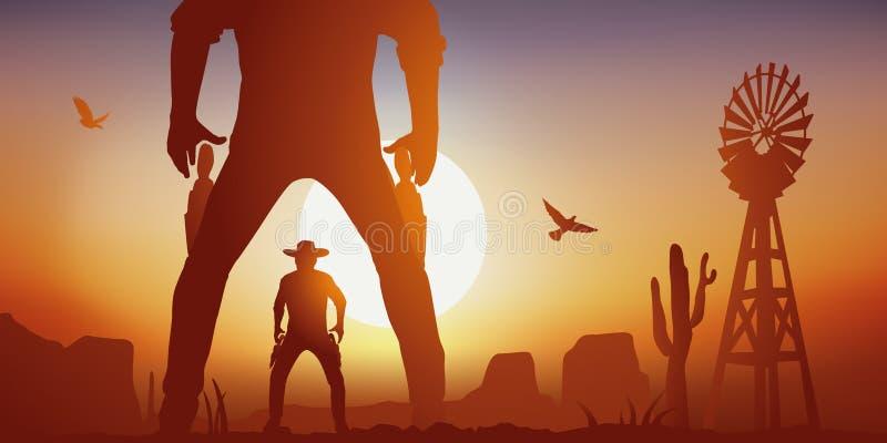 与面对的两个野生西部人的西部场面战斗在决斗 库存例证