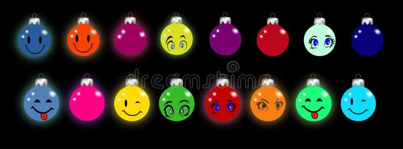 与面带笑容和眼睛的圣诞节球形 免版税库存照片
