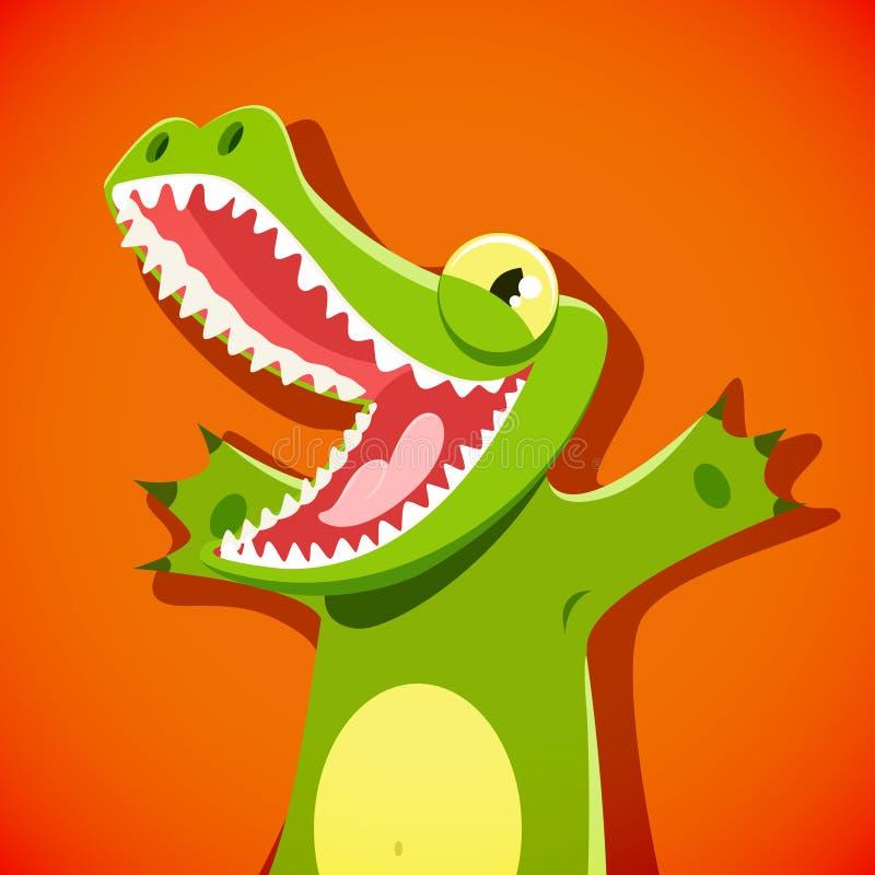 与面带笑容的滑稽的逗人喜爱的鳄鱼 皇族释放例证