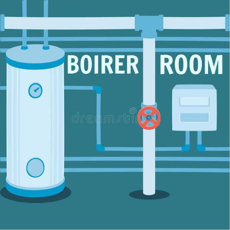 与面汤暖气的锅炉室横幅 皇族释放例证