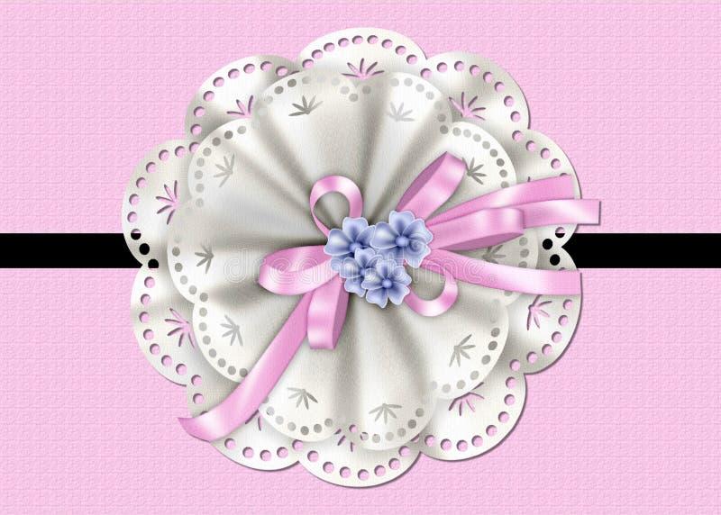 与鞋带、丝带和花的桃红色织地不很细看板卡 库存例证