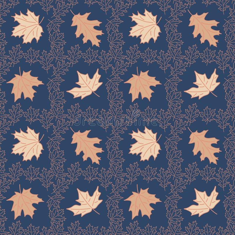 与鞋带秋叶淡色的无缝的背景 手拉的在深蓝背景的线型枫叶 库存照片