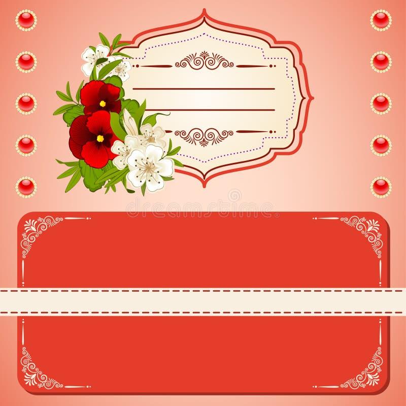 与鞋带装饰品和花的背景。 向量例证