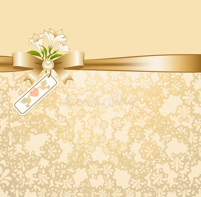与鞋带装饰品和花的背景 库存例证