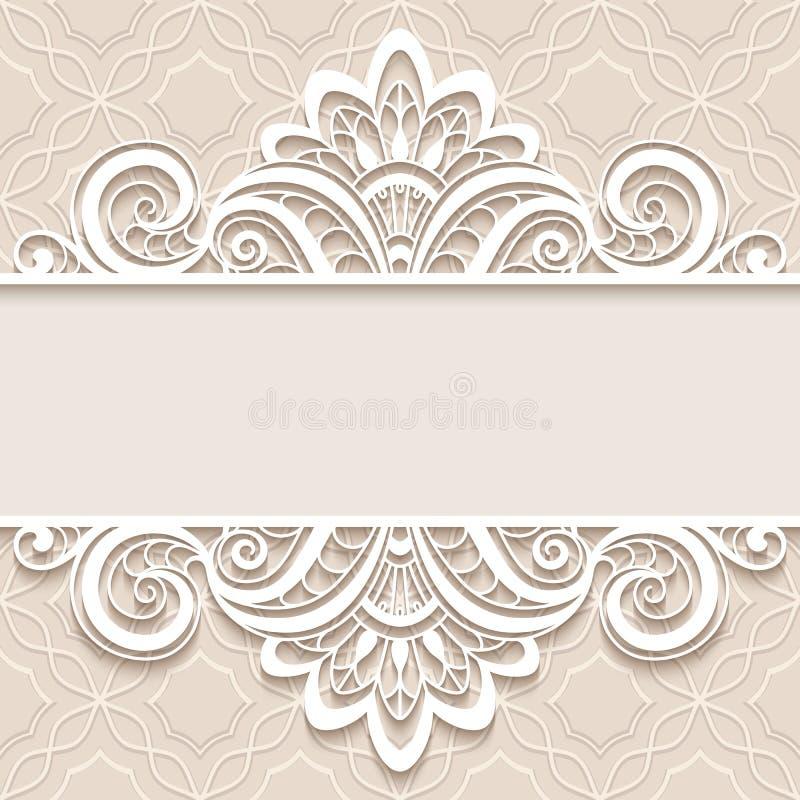 与鞋带边界的装饰纸框架 库存例证