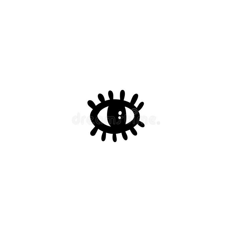 与鞭子手拉的例证的眼睛在动画片样式的略写法的 向量例证