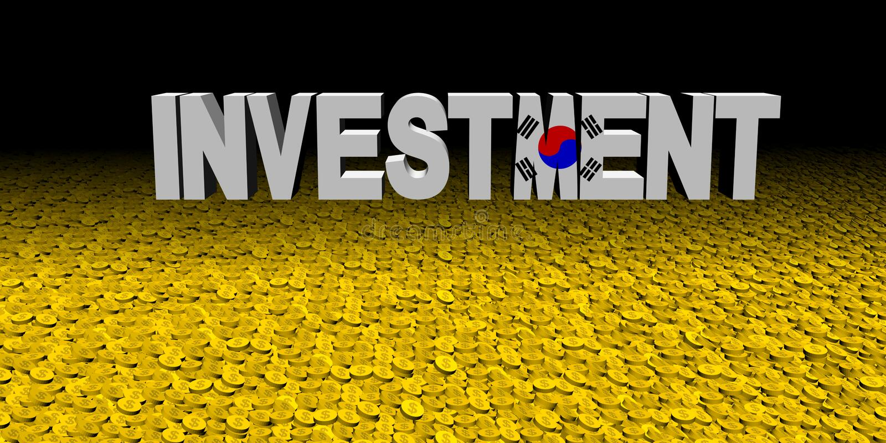 与韩国旗子的投资文本与硬币例证 皇族释放例证