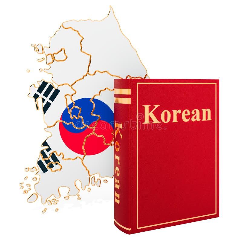 与韩国的地图,3D的韩语书翻译 库存例证