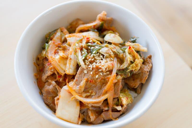 与韩国kimchi的日本米 免版税库存照片