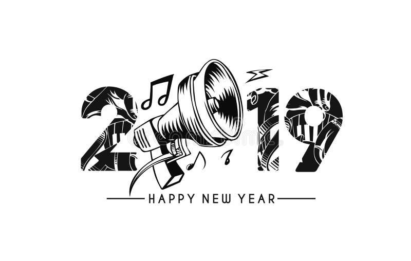 与音乐元素设计啪答声,Vecto的新年快乐2019文本 向量例证