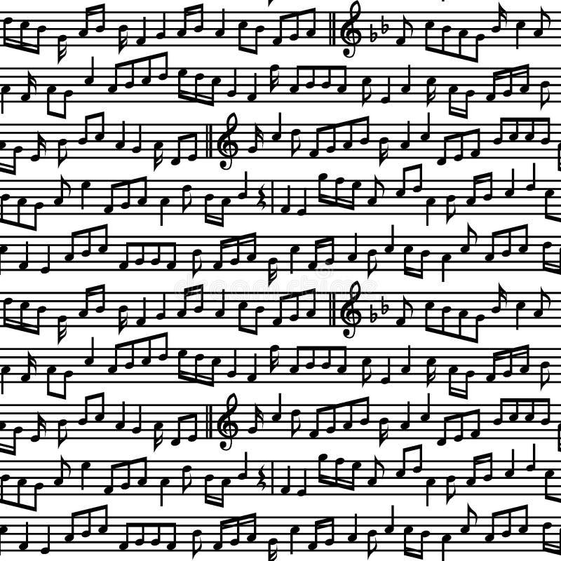 与音乐的梯级注意无缝的样式 黑白音乐注意板料无缝的样式 向量例证