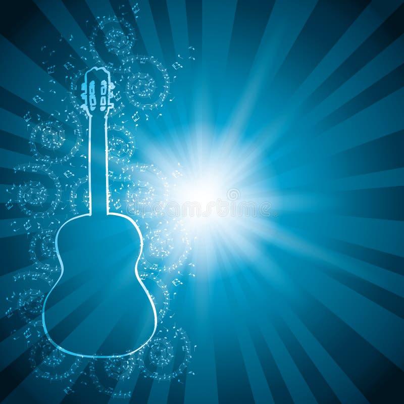 与音乐笔记和吉他-光芒的蓝色传染媒介背景 库存例证
