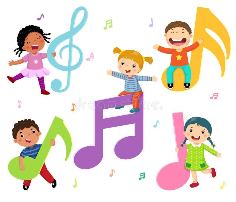 与音乐笔记的动画片孩子 向量例证