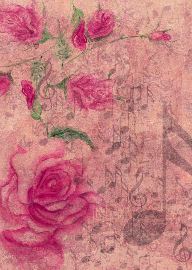 与音乐笔记的水彩玫瑰 向量例证