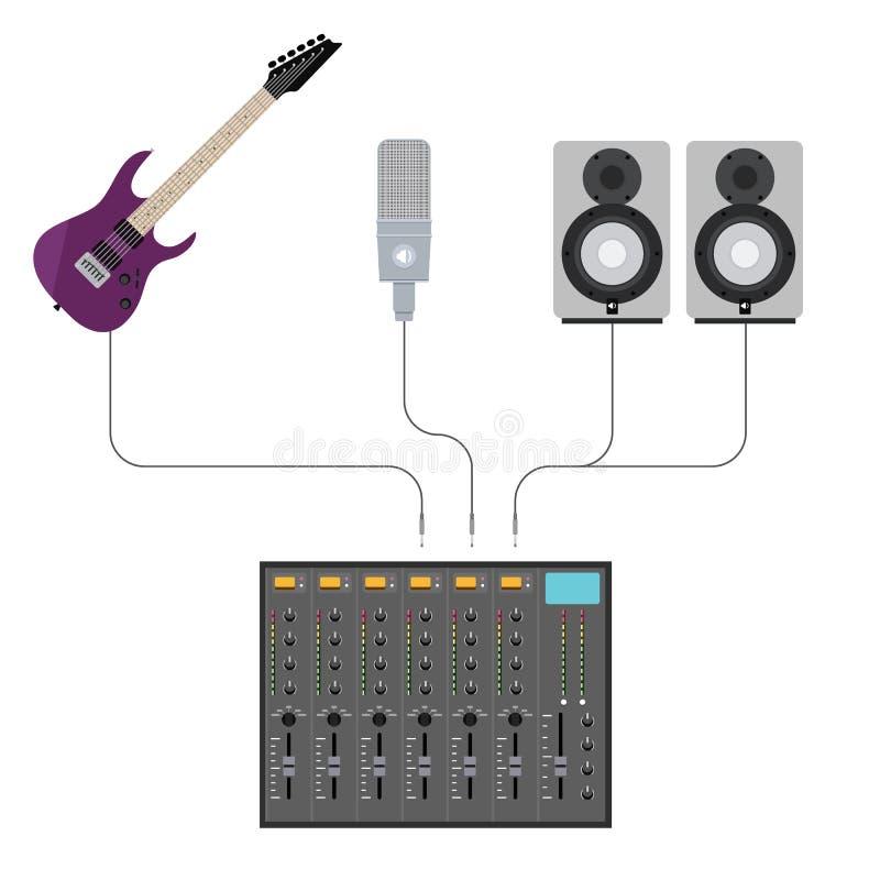 与音乐齿轮的演播室搅拌器 库存例证