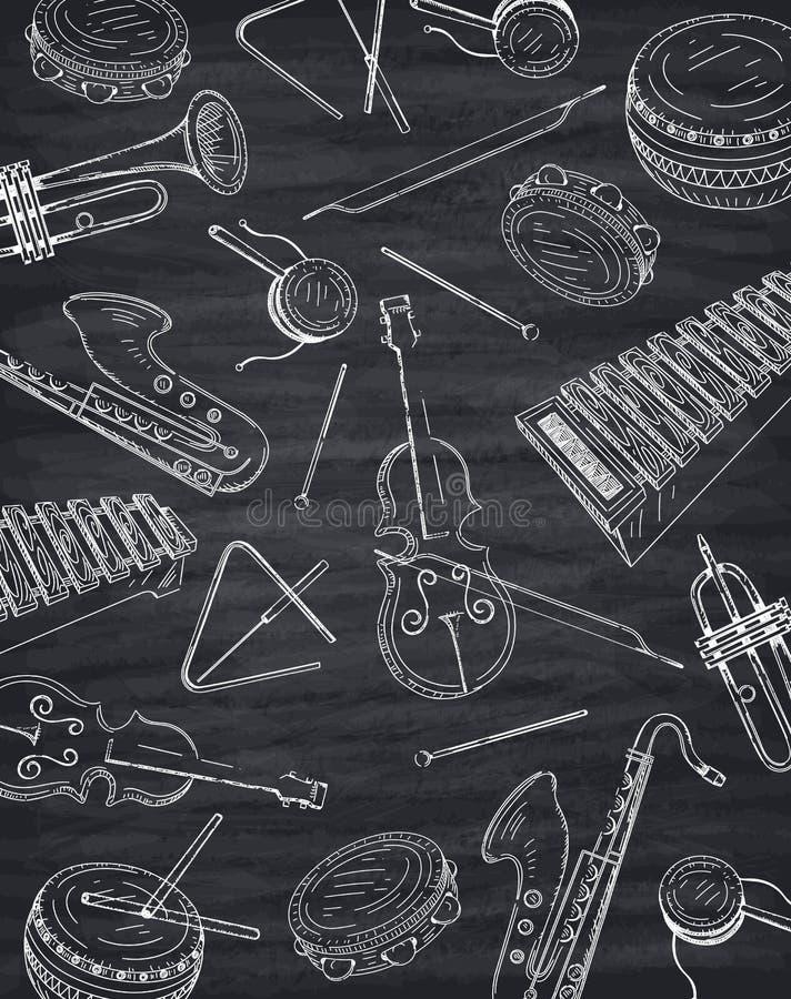 与音乐instrumen剪影的黑白背景  皇族释放例证