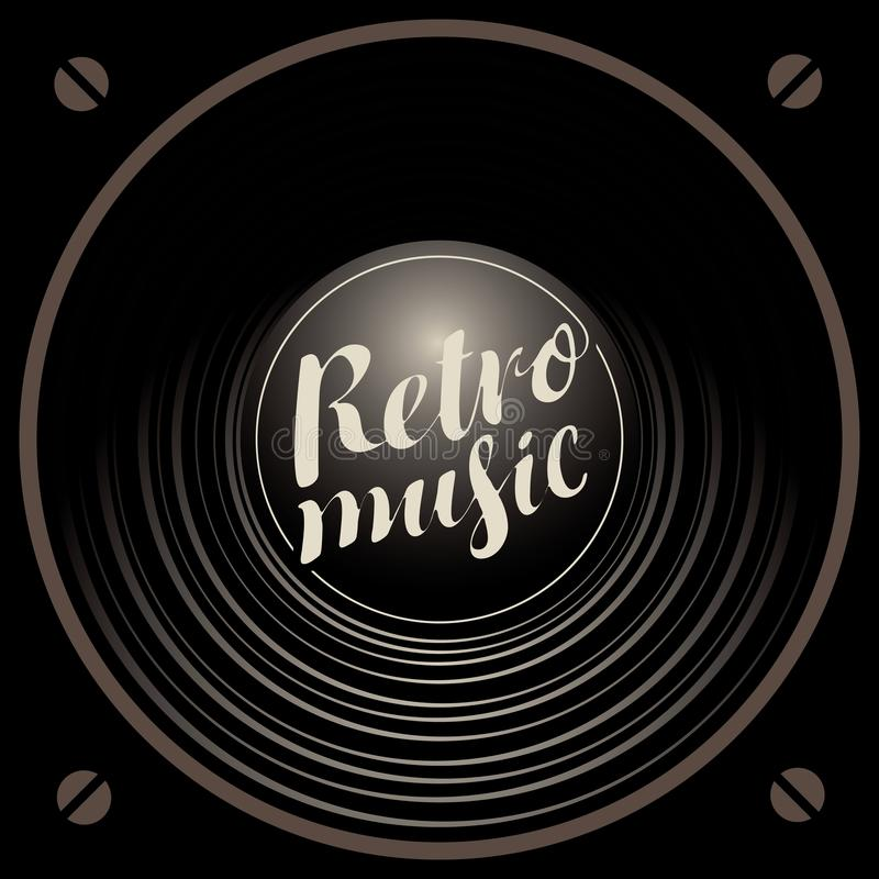 与音响报告人的减速火箭的音乐横幅 库存例证