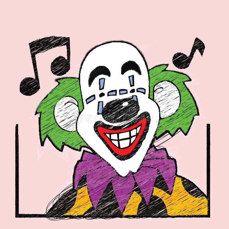 与音符的说笑话者动画片 向量例证