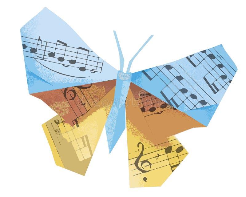 与音符的Origami蝴蝶 皇族释放例证