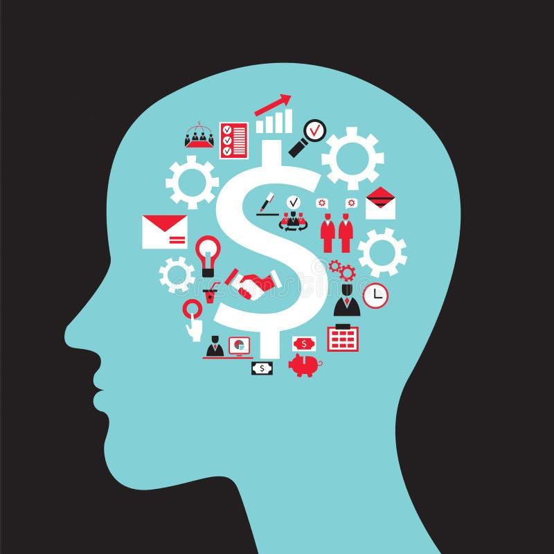 与顶头外形、脑子、齿轮和企业象的Infographics概念 向量例证