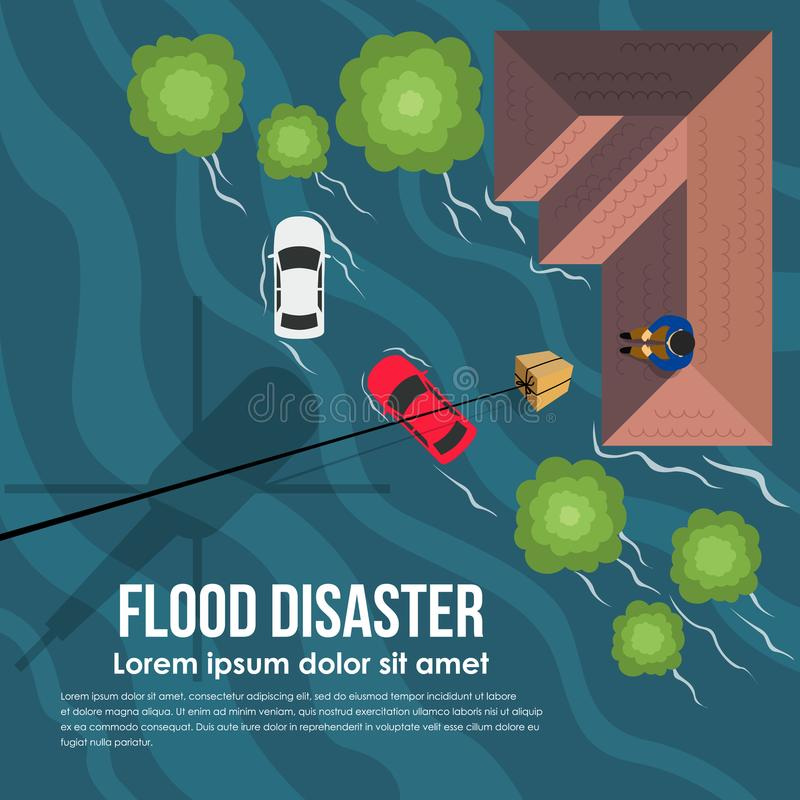 与顶视图直升机的洪水灾害交付帮助箱子到房子传染媒介设计的屋顶的水灾受害者 皇族释放例证