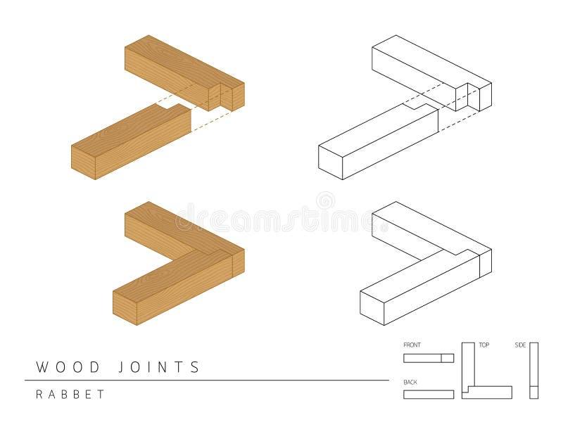 与顶面前方的在白色,透视3d和后面看法隔绝的木联合集合凹凸缝样式的类型 皇族释放例证