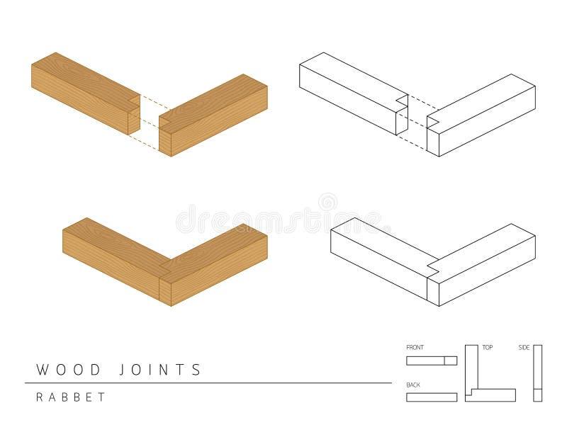 与顶面前方的在白色,透视3d和后面看法隔绝的木联合集合凹凸缝样式的类型 库存例证