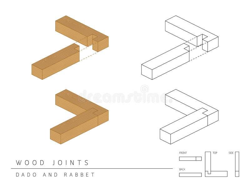 与顶面前方的在白色,透视3d和后面看法隔绝的木联合集合达多和凹凸缝样式的类型 皇族释放例证