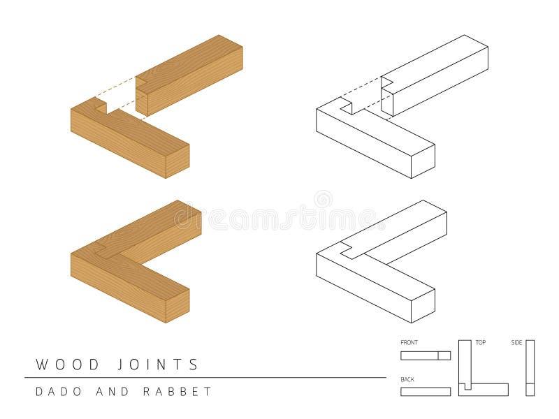 与顶面前方的在白色,透视3d和后面看法隔绝的木联合集合达多和凹凸缝样式的类型 库存例证