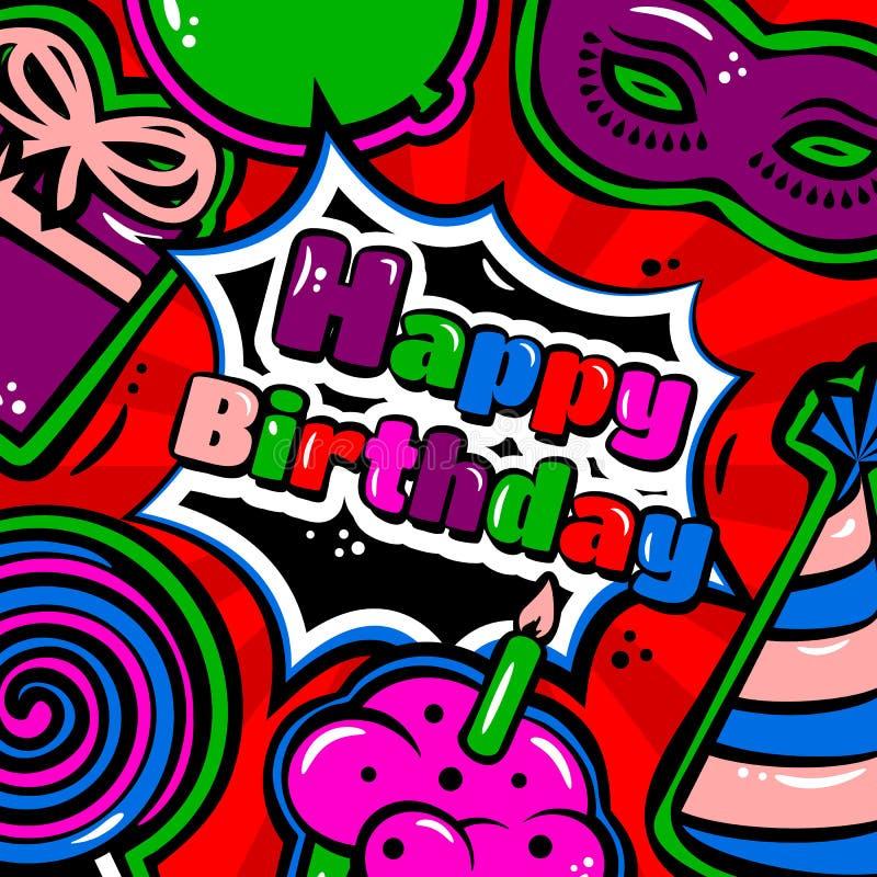 与项目、气球、蛋糕、帽子、棒棒糖、化妆舞会和礼物的生日贺卡在红色背景 向量 库存例证