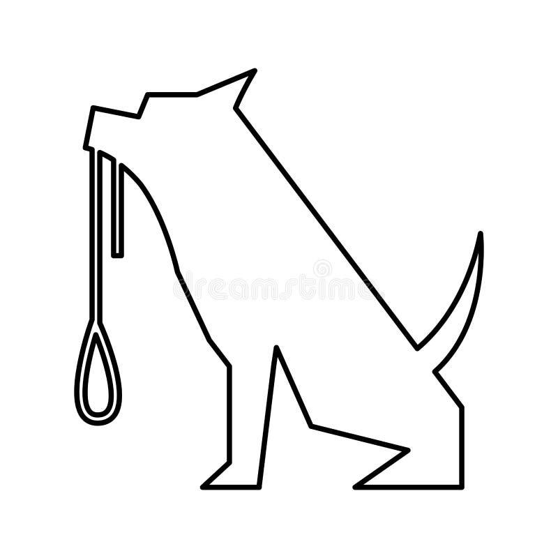 与项链剪影的爱犬吉祥人 皇族释放例证