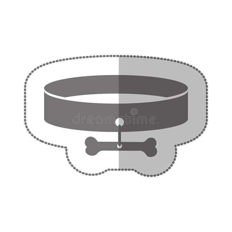 与项链和骨头的灰色极谱剪影中间阴影贴纸 皇族释放例证