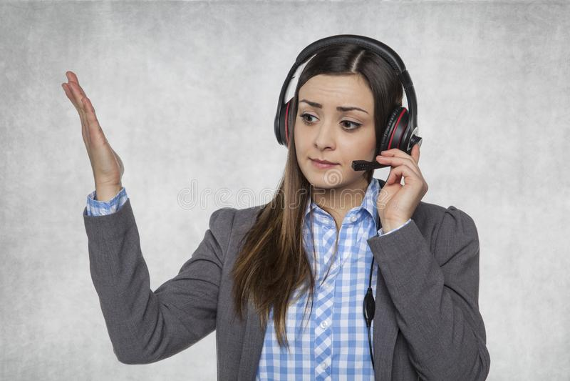 与顾客,技术支持的坚硬电话 免版税库存图片