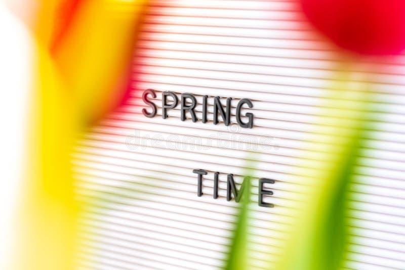 与题字'在前景的春天'和花的信件板 免版税库存图片