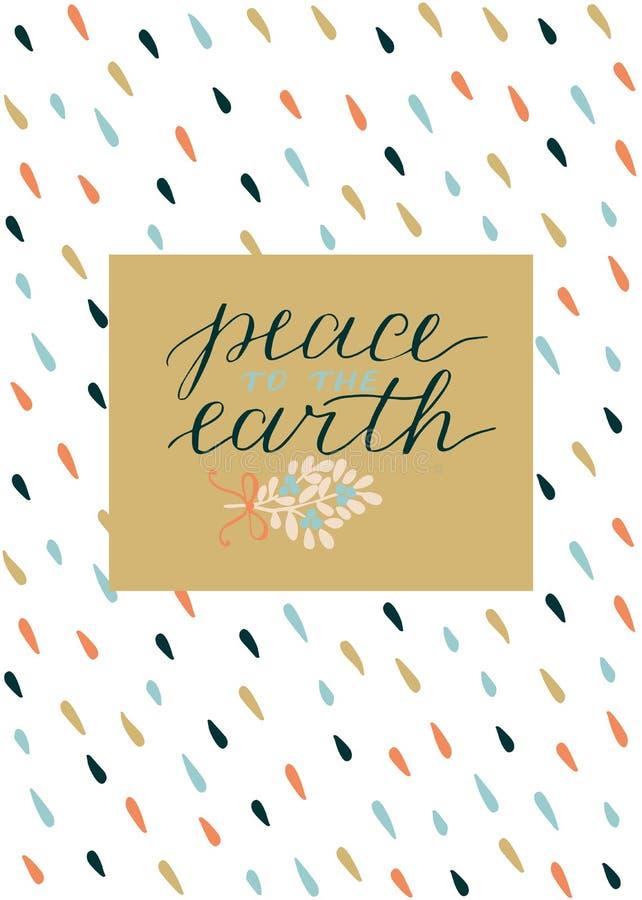 与题字和平的假日卡片对地球,做了手字法 库存例证
